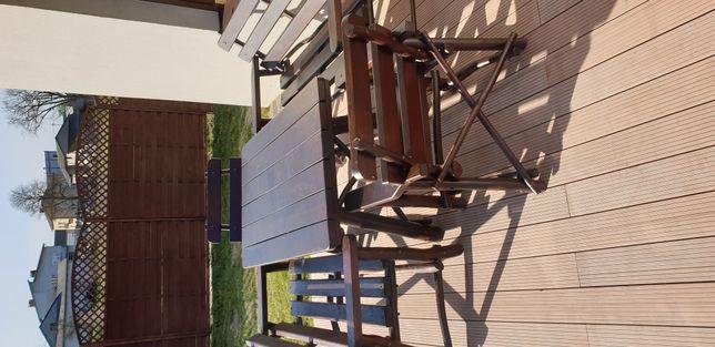 Meble ogrodowe dębowe, stół ławki krzesła