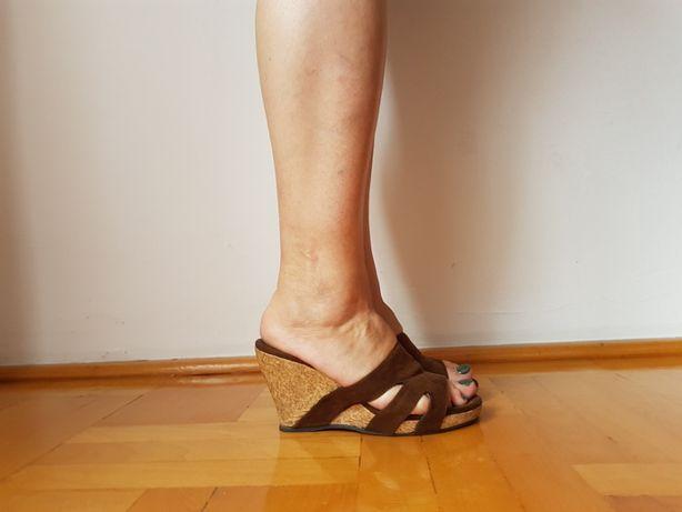 Klapki na koturnie brązowe koturny sandały brąz zamsz 37 36 36,5 buty