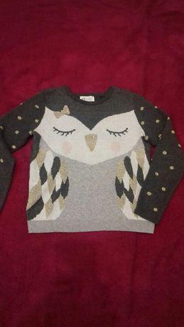 Sweterek H&M sowa rozm 122-128 stan bdb