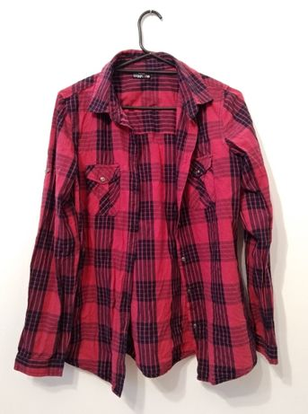 Koszula damska z kieszeniami w kratę