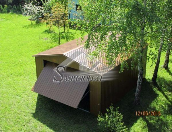 Garaż akrylowy 4X5 - brama złoty dąb dwuspad