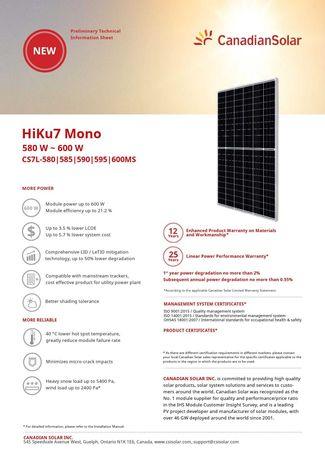 Painel Solar Fotovoltaico Canadian Solar 600w (M-120))
