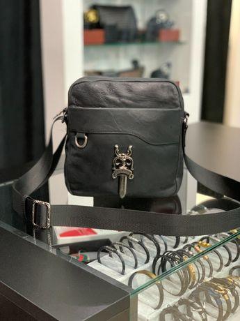 Мужская кожаная сумка на плечо на пояс мессенджер Chrome Hearts c635