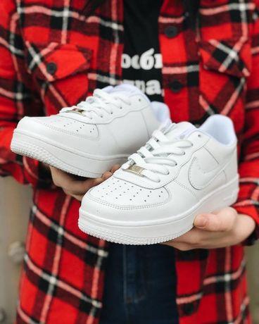 Хит! Кроссовки Nike Air Force 1 Белые Чёрные кроссовки Найк Кросівки