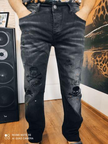 Spodnie jeansowe czarne PHILIPP PLEIN.