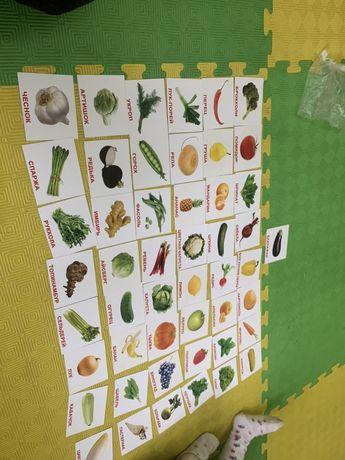 Карточки еда русский/английский овощи фрукты