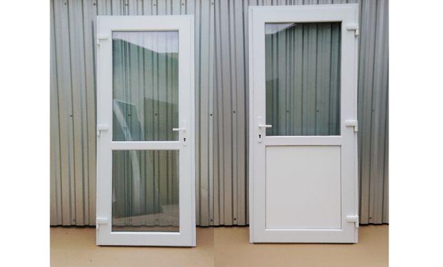 Drzwi zewnętrzne PCV sklepowe 100x210 pvc białe RÓŻNE ROZMIARY OD RĘKI