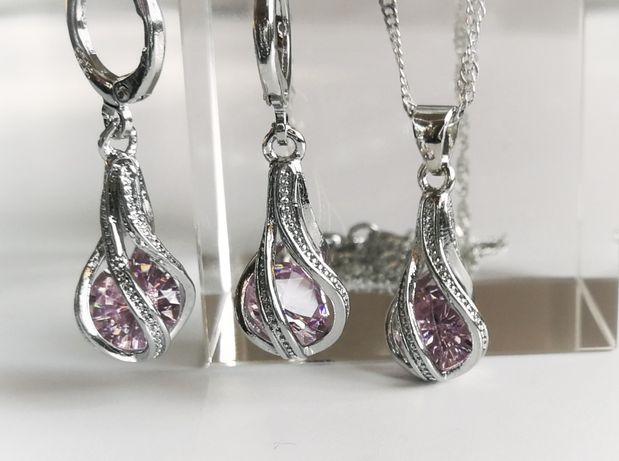 PROMOCJA Nowy srebrny komplet biżuterii z kryształkami