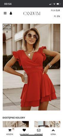 Sukienka, czerwona, wesele