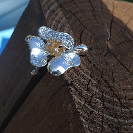 кольцо серебро цветок с камнями эксклюзив подарок крупное 925