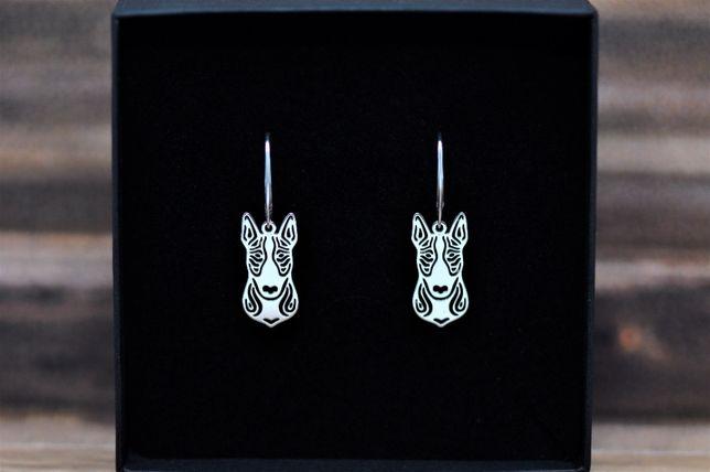 Bullterier / Bull terrier- kolczyki srebrne pr. 925