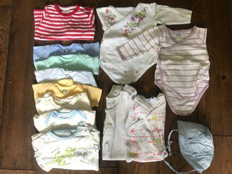 Ubranka dla niemowlaka 62 spiochy, body, pajacyki, kaftanik czapeczka
