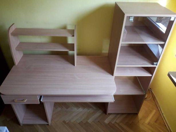 biurko, z szafką i nadstawką