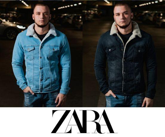 Джинсовая куртка на меху ZARA MAN осенняя шерпа S-XXL джинсовка тёплая