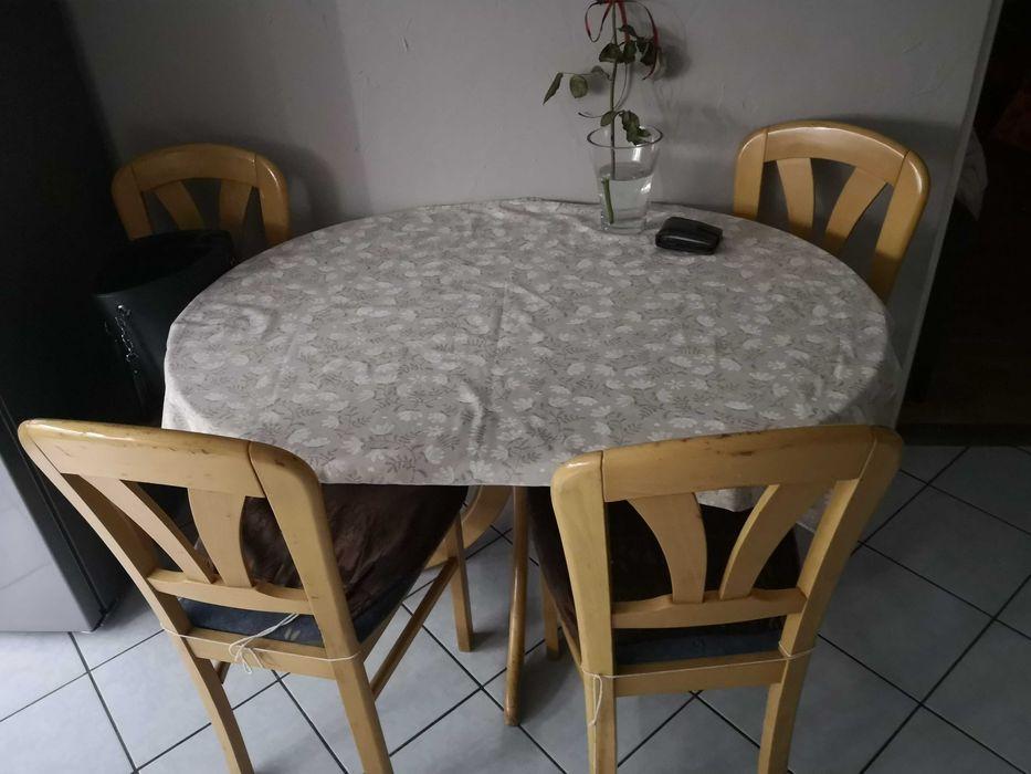 Solidny Stół i 4 krzesła komplet Nowogrodziec - image 1