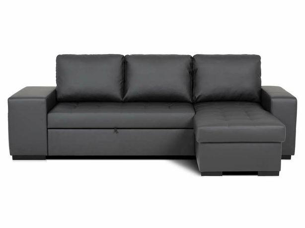 Sofá pele sintética preto chaise longue com cama e dois poufs