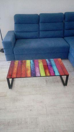 Nowa Ława kolorowa szklana stolik kawowy