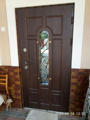 Двері для приватного будинку з ковкою і склопакетом
