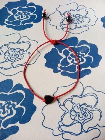 свадебный подарок красная нить браслет из гематита Сердце Гематит