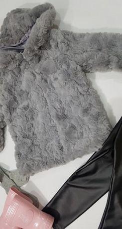 Kurtka płaszczyk szare futerko dziewczęce 98-164