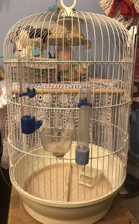 Klatka dla papugi z akcesoriami okrągła biała