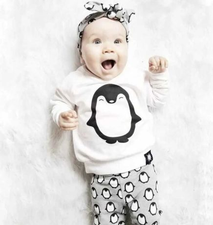 Piżama dziecięca - pingwinki - dwuczęściowa