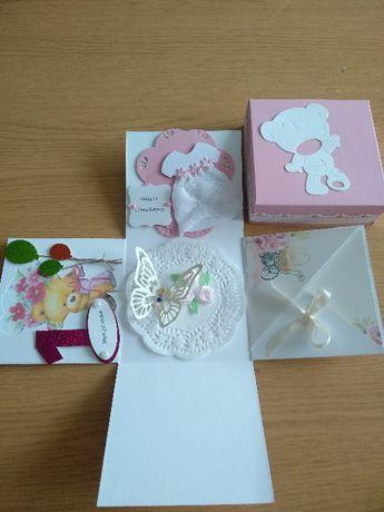 Pudełko box, kartka ręcznie robiona, chrzest - roczek 2w1