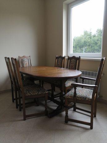 Stół dębowy rozkładany + 6 krzeseł