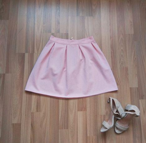 Dziewczęca letnia rozkloszowana spódnica pudrowy róż r.S stan idealny