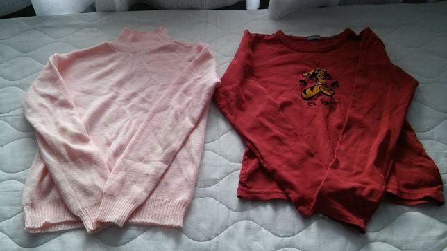 bluzka z długim rękawem i sweterek różowy roz. 134