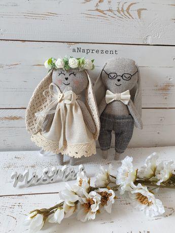 Młoda para króliki maskotki personalizowane prezent ślub hand made