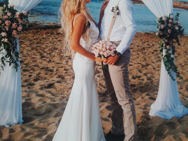 OKAZJA! Suknia ślubna biała sukienka maxi syrenka ecru