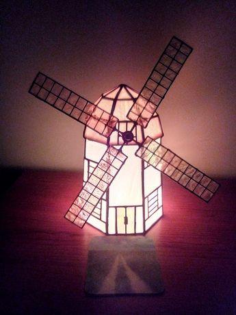 Lampka nocna w stylu Tiffany wiatrak Holenderski  masa perłowa !