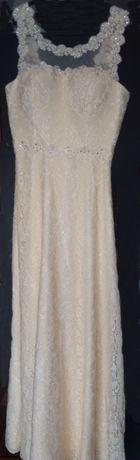 Sukienka kremowa - ecru rozmiar 38 ślubna