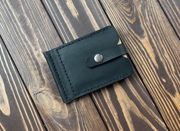 Кожаный зажим для денег + именная гравировка