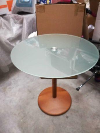 Mesa de apoio design - cerejeira maciça e tampo redondo em vidro fosco