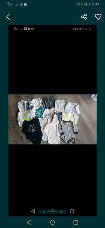Paka ubrań 56-74 body długi rękaw dla chłopca