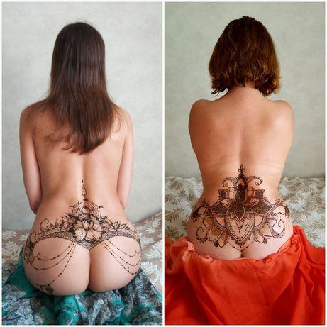 Мехенди, рисунок хной, эротическая роспись тела хной, временная тату.