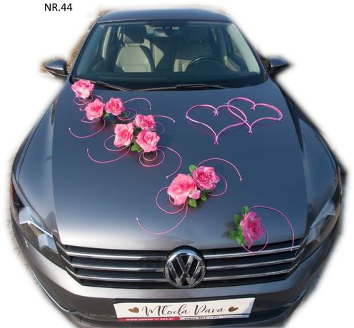 Dekoracja samochodu ozdoba na auto do ślubu NR.44 DOWOLNY KOLOR