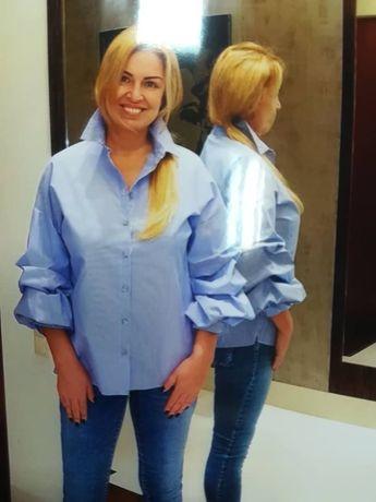 Świetna bluzeczka koszula w paski bufiaste rękawki rozmiar 3XL i L