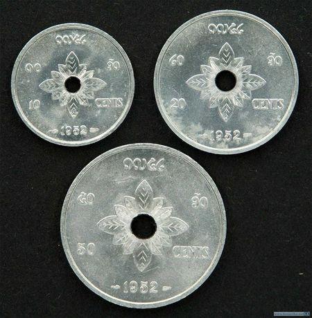 Набор монет 10, 20, 50 центов 1952 Лаос