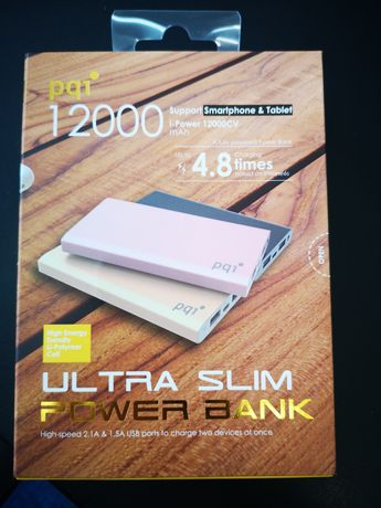 Power Bank pqi 12000 mAh szary