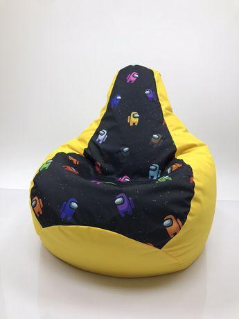 Кресло мешок (Груша) с ПРИНТ Мягкий Пуф XL(130*90см) средний размерр !