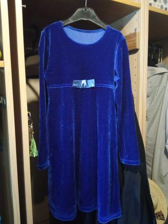 Sukienka niebieska aksamitna, 122