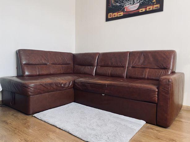 Sofa narożna rozkładana skórzana - z funkcją spania i pojemnikiem