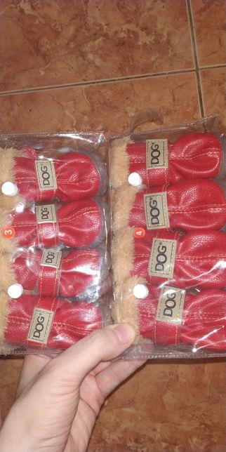 Buty buciki dla psa pieska psów piesków czerwone na zimę do kurtka