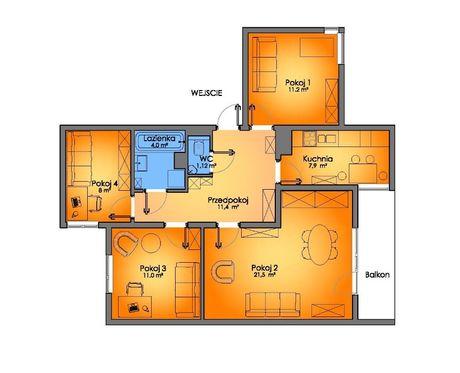 Apartament 4-pokojowy, 75 m², os. Ruty, ul.Dziewanny