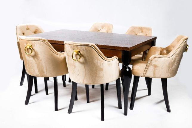 Krzesło CHESTERFIELD PIKOWANE z kołatką złote Glamour Kubełek Wysoki