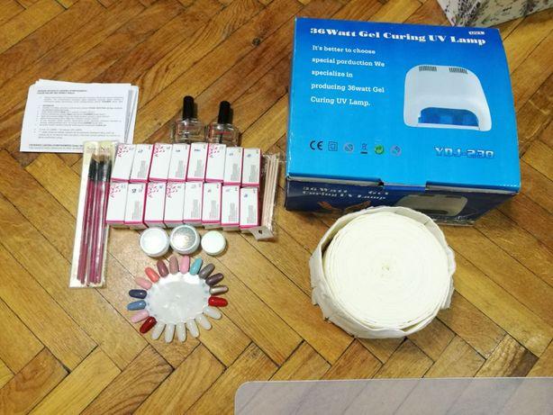 manicure hybrydowy mega zestaw: lampa UV, 14 lakierów, pyłki indigo
