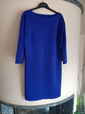 Sukienka niebieska wizyta elegancka polyester M L slim S chabrowa